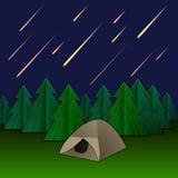 Vektor-Meteor-Regen, Zelt und Tannenbäume, glänzende Meteoren auf dem Himmel vektor abbildung