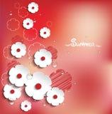 Vektor mit Blumen, Sommerhintergrund in 3D Lizenzfreies Stockfoto
