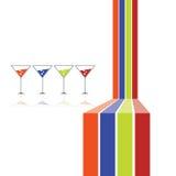 Vektor mit vier Gläsern und mit vier Farblinien Stockbilder