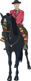 Vektor Mitfahrer auf einem Pferd Stockfotografie