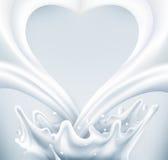vektor Mjölka färgstänk i form av hjärta på en grå bakgrund vektor illustrationer