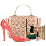 Vektor-Mode-Handtasche mit Make-upkosmetik stock abbildung