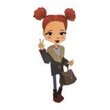 Vektor-Mode-Mädchen-Illustration mit einem netten Mode-Kind Stockbild