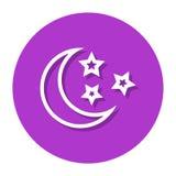 Vektor-Mond und Sterne in der Kreis-Linie Ikone Vektor Abbildung