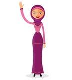 Vektor - moslemische arabische Frau, die ihre Hand im hijab lokalisiert wellenartig bewegt Lizenzfreies Stockbild