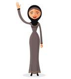 Vektor - moslemische arabische Geschäftsfrau, die ihre Hand wellenartig bewegt Flache Illustration des Vektors Stockfotografie