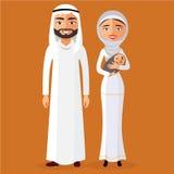 Vektor - moslemische Eltern mit einem neugeborenen Baby glücklich Stockbilder