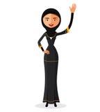 Vektor - moslemische Frau, die ihre Hand in der traditionellen Kleidung lokalisiert auf weißem Hintergrund wellenartig bewegt Stockfotografie