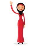 Vektor - moslemische Frauenmode, die roten Schleier trägt Flaches Design karikatur zeichen Auch im corel abgehobenen Betrag Lizenzfreie Stockfotografie