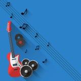Vektor-Musik-Hintergrund im flachen Artdesign Stockfotografie