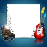 Vektor-Musik-Hintergrund mit Instrumenten und Musik Stockbild