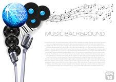Vektor-Musik-Hintergrund mit Instrumenten und Musik-Ausrüstung Lizenzfreie Stockfotografie
