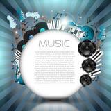 Vektor-Musik-Hintergrund mit Instrumenten und Musik-Ausrüstung Stockbilder
