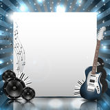Vektor-Musik-Hintergrund mit Instrumenten und Musik-Ausrüstung Stockfoto