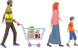 Vektor - muslimsk familjshopping med vagnen stock illustrationer