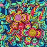 Vektor, Muster Hintergrund, Mehrfarben-, nahtloses Muster, verlässt; Blumen Stockfoto