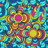 Vektor, Muster Hintergrund, Mehrfarben-, nahtloses Muster, verlässt; Blumen Lizenzfreie Stockfotografie