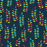 Vektor, Muster Hintergrund, Mehrfarben-, nahtloses Muster, verlässt; Zweige Lizenzfreies Stockbild