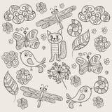 Vektor-Muster mit einfachen Zeichnungen Lizenzfreie Stockfotos