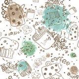 Vektor-Muster mit Kaffee-Material-und Aquarell-Gekritzel-Stellen Stockfoto