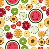 Vektor-Muster von flachen gelegentlichen saisonalfrüchten stock abbildung