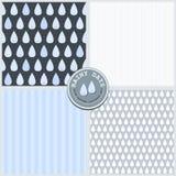 Vektor-Mustersatz des blauen glücklichen Frühlingssommerherbstes der Regentropfen reizenden nahtloser Vektor Abbildung