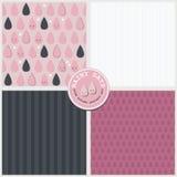 Vektor-Mustersatz des rosa glücklichen Frühlingssommerherbstes der Regentropfen reizenden nahtloser Stock Abbildung
