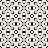 Vektor-nahtlose geometrische ethnische Blumenschwarzweiss-linie Verzierungs-Muster Lizenzfreies Stockbild