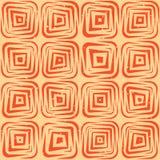 Vektor-nahtlose Hand gezeichnete geometrische Linien gerundete quadratische Fliesen Retro- Grungy orange Tan Pattern Lizenzfreie Stockfotografie