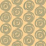 Vektor-nahtlose Hand gezeichnete geometrische Linien kreisförmige runde Fliesen-Retro- Grungy Grün und Tan Color Pattern Stockbilder