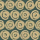 Vektor-nahtlose Hand gezeichnete geometrische Linien kreisförmige runde Fliesen Retro- Grungy grüne Tan Color Pattern Stockbilder