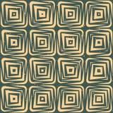 Vektor-nahtlose Hand gezeichnete geometrische Linien quadratische Fliesen Retro- Grungy grüne Tan Color Pattern Lizenzfreies Stockbild