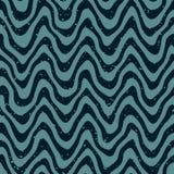 Vektor-nahtlose Hand gezeichnete gewellte verzerrte Linien Retro- Muster Lizenzfreie Stockfotografie