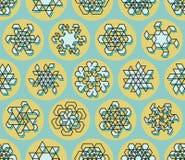 Vektor-nahtlose Linie Art Stroke Offset Geometric Teal-Schneeflocken-Form auf gelbem Kreis-Hintergrund Stockfotografie