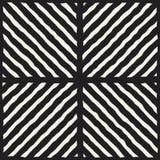 Vektor-nahtlose Schwarzweiss-Hand gezeichnete Diagonale zeichnet Schachbrettmuster Lizenzfreie Stockfotografie