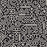 Vektor-nahtlose Schwarzweiss-Linie Art Geometric Doodle Pattern Lizenzfreies Stockbild