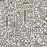 Vektor-nahtlose Schwarzweiss-Linie Art Geometric Doodle Pattern Lizenzfreie Stockbilder
