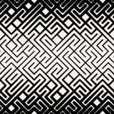 Vektor-nahtlose Schwarzweiss-Streifen-Linie geometrischer Maze Square Pattern Stockbild