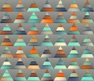 Vektor-nahtlose Steigung Mesh Color Stripes Triangles Grid in den Schatten der Knickente und der Orange Stockfotos