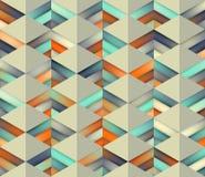 Vektor-nahtlose Steigung Mesh Color Stripes Triangles Grid in den Schatten der Knickente und der Orange auf hellem Hintergrund Stockbilder