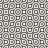 Vektor nahtloser gerundeter unregelmäßiger Schwarzweiss-Maze Lines Pattern Stockfotos