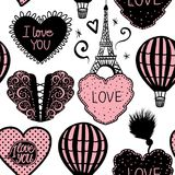 Vektor-nahtloser Muster-Ballon und Paris-Eiffelturm Lizenzfreie Abbildung