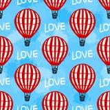 Vektor-nahtloser Muster-Heißluft-Ballon Lizenzfreie Abbildung