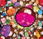 Vektor nahtloser Puppen-Hintergrund Kokeshi Babushka stockfotos