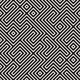 Vektor nahtloser Schwarzweiss--Maze Stripes Irregular Geometric Pattern Stockfotografie