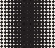 Vektor-nahtloser verwandelnder Stern-Halbtongitter-Steigungs-Muster-geometrischer Schwarzweiss-Hintergrund Stockbilder