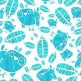 Vektor-nahtloses Aquarell-Muster mit Vögeln und Stockfotos