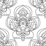 Vektor-nahtloses einfarbiges aufwändiges Muster Übergeben Sie gezogene Mandala Texture, Weinlese-indischen Artentwurf Stockfoto