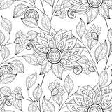 Vektor-nahtloses einfarbiges Blumenmuster Lizenzfreies Stockbild