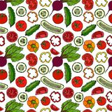 Vektor-nahtloses Gemüsemuster mit Gurken, rote Tomaten, grüner Pfeffer, rote Rübe Frischer grüner Salat Gesunde vegetarische Nahr Lizenzfreies Stockbild